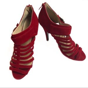 Delicacy Strappy Red Heels, Size 10